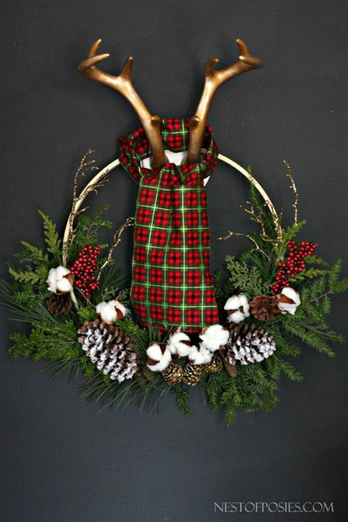 Lumber Jack Antler Wreath DIY