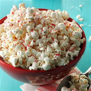 Peppermint Popcorn Recipe -Crisp and minty, this simple snack is a hit with all 10 of our children. For variety, try substituting other flavors of candy instead of peppermint. —Shirley Mars, Kent, Ohio