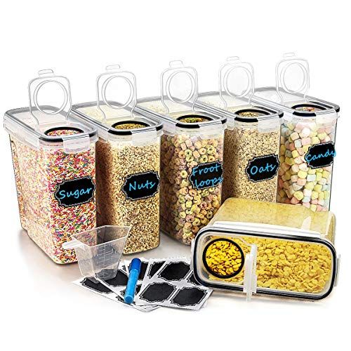Large Cereal Dry Food Storage Containers Wildone Airtight Cereal Storage Containers For Su In 2020 Dry Food Storage Cereal Storage Food Storage Containers
