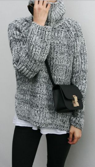 chunky sweater over a  tee + leggings.