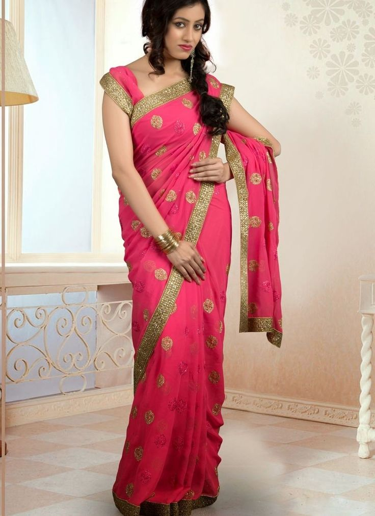 You'll Be Confident To Make A Strong Style Statement With This Fuchsia Chiffon Saree. The Enticing Multi,Resham,Stones Work A Substantial Characteristic Of This Attire.