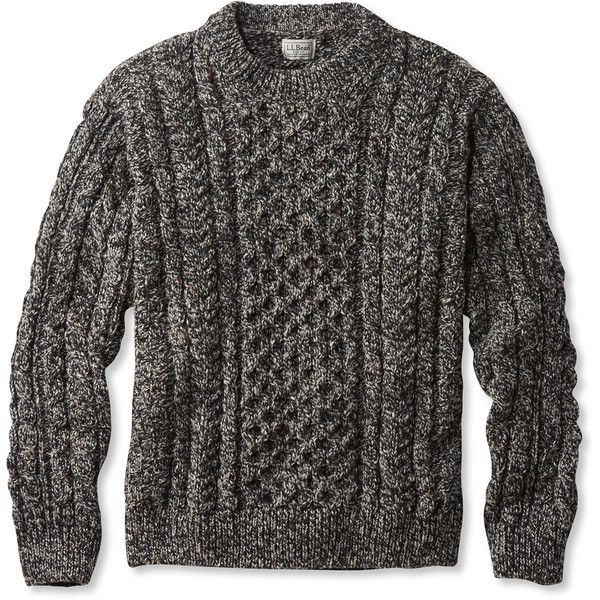 L.L.Bean Heritage Sweater, Irish Fisherman's Crewneck ($149) ❤ liked on Polyvore featuring men's fashion, men's clothing, men's sweaters, mens crew neck sweaters, mens wool sweaters, mens wool crew neck sweater and mens crewneck sweaters
