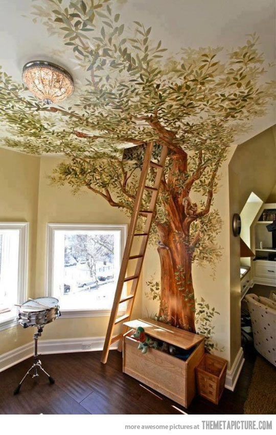 Inside tree mural. My future home WILL have this..in my room!