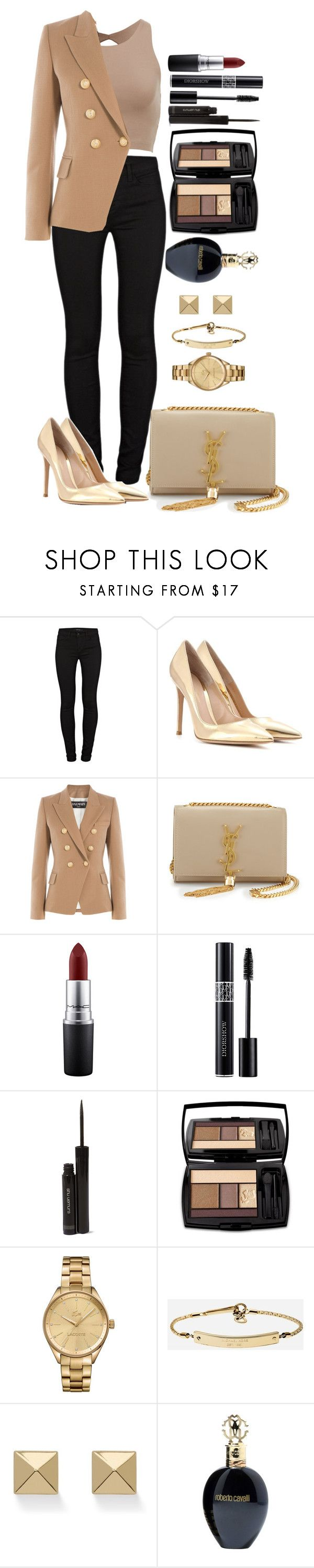 """Untitled #1328"" by fabianarveloc on Polyvore featuring J Brand, Gianvito Rossi, Balmain, Yves Saint Laurent, MAC Cosmetics, Christian Dior, shu uemura, Lancôme, Lacoste and MICHAEL Michael Kors"
