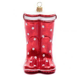 Bota roja adornovidrio soplado Árbol de Navidad