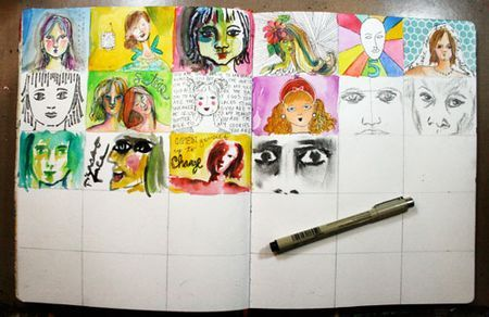 Art journaling every day website - grid a spread - beginning of every class…