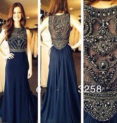 Navy Blue Chiffon Beaded Evening Prom Dress Formal Long Pageant Party Dresses
