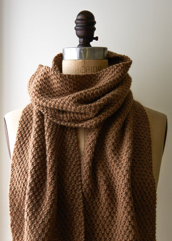 Double Seed Stitch Scarf: Maybe if you live in Cairo, a camel is not so uncommon a thing, but for New Yorkers your best chance of getting close to a camel is at the zoo… Or at Purl Soho! Our new Camel yarn from Lanecardate is 100% camel and 100% special.
