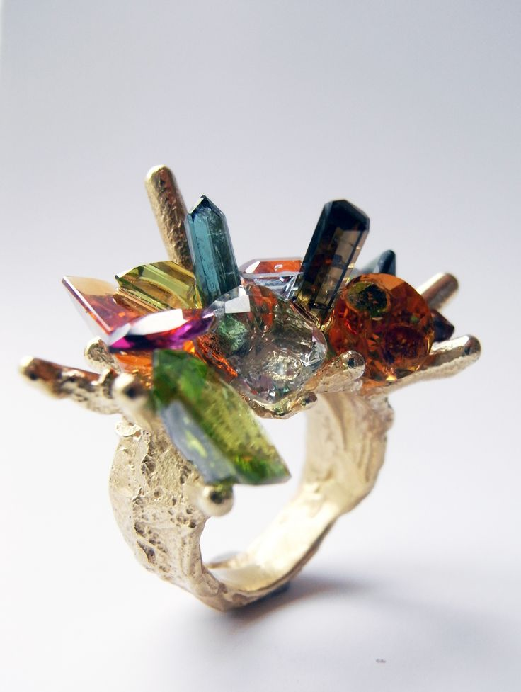 'precious fluke' ring 18ct gold with peridot, tourmaline, citrine, rhodolite, aquamarine and fire-opal. Kelvin J. Birk 2015