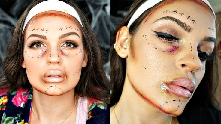Plastic Surgery GLAM GONE WRONG  Drugstore Halloween Makeup Tutorial Col...