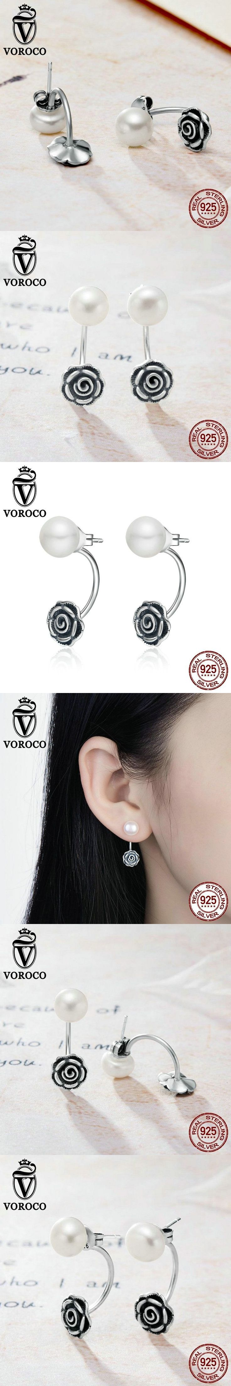 VOROCO 925 Sterling Silver Fashion Genuine Dazzling Flower Pearl Stud Earrings Women Fine Jewelry Brincos VSE025 #pearlstudearrings