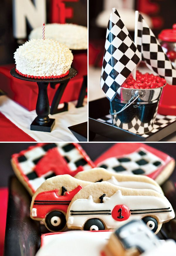 Diner Style Race Car First Birthday Party #firstbirthdayparty #partiesforboys