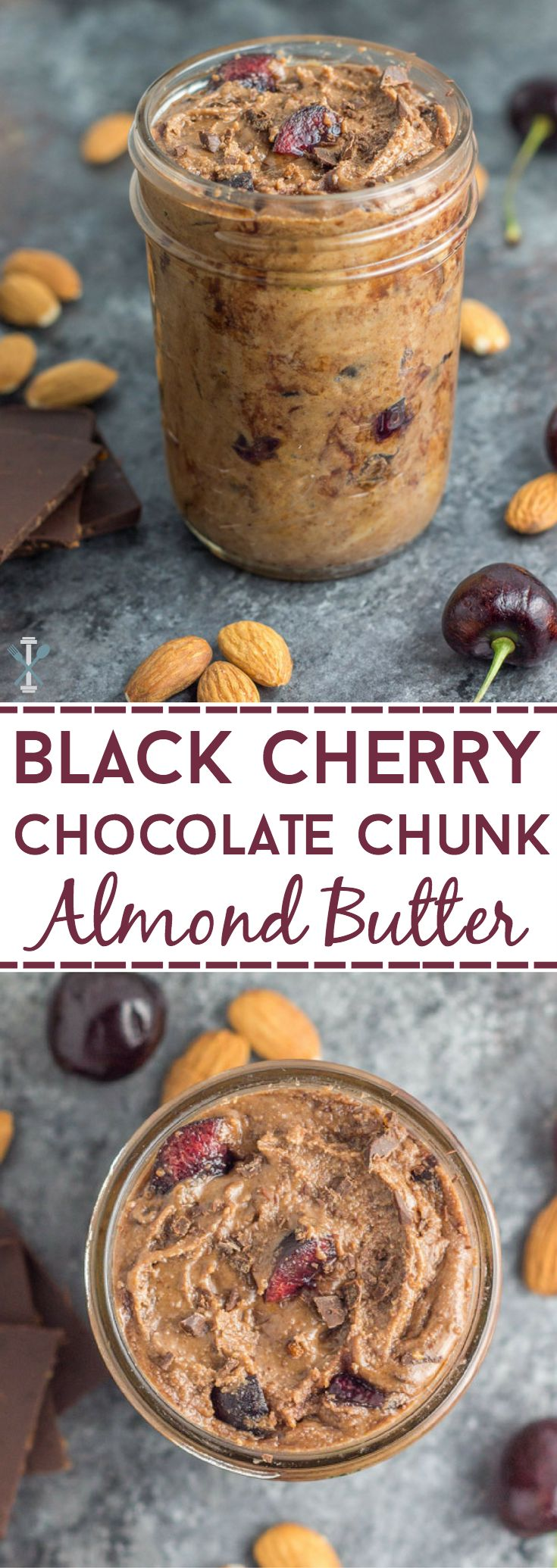 A decadent treat that is paleo and vegan - take your homemade almond butter to the next level with this easy, homemade black cherry chocolate chunk nut butter