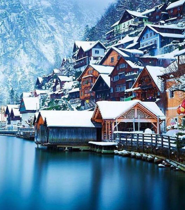 Hallstatt Austria #ville #voyage #paysage #photo #photographie #décoration #tableaux #cadre #maison