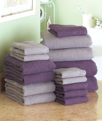 Bathroom color idea - Plum & Gray - 16-Pc. Bath Towel Sets