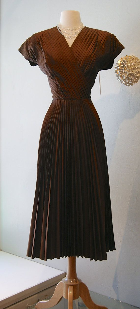 1940s Dress / Vintage 40s Pleated Taffeta Copper by xtabayvintage, $198.00