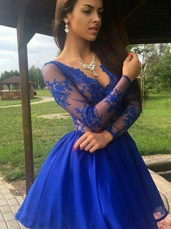 65641b0aa39 Short Mini A-Line Princess Long Sleeves V-neck Organza Dresses in ...