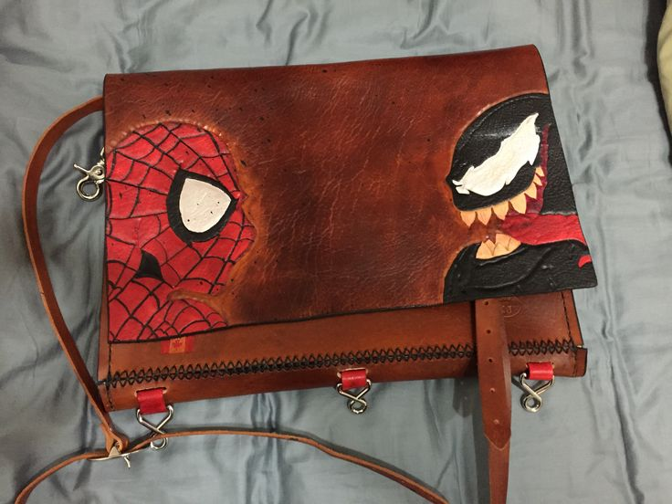 Leather comic collecting bag.