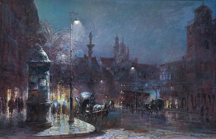 Wladyslaw Chmielinski, 1911-1999.  Oil on canvas, Castle Square at Night, Warsaw, Poland.