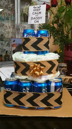 Father Beer Diaper Cake | DIY Baby Shower Gift Basket Ideas for Boys