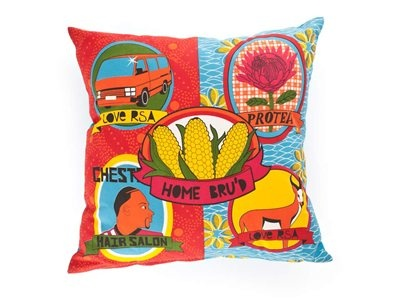 "South African Home Bru's - ""local is lekker"" inspired scatter cushion."