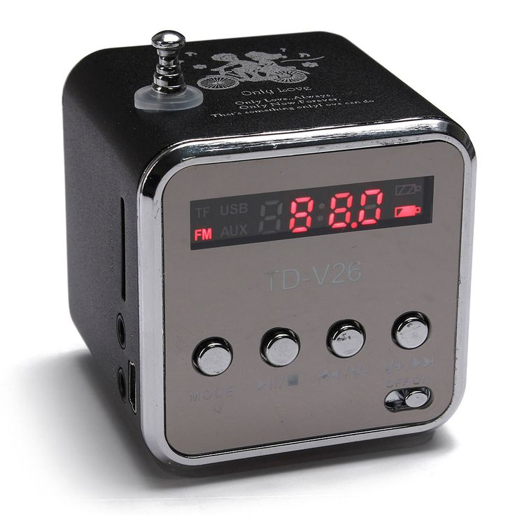 TD-V26 Portable Mini Stereo FM Radio MP3 Speaker Music Player Support Micro SD TF USB