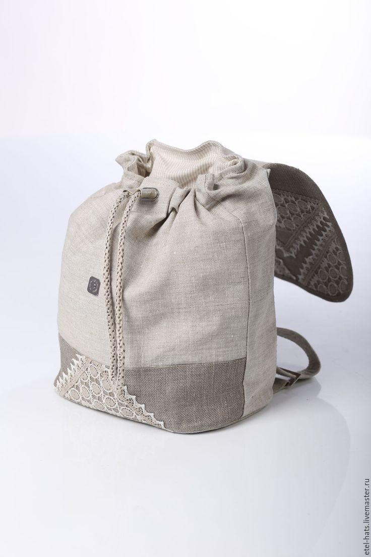Купить С15-12 Рюкзак - бежевый, однотонный, лен, льняная ткань, ажур, ажурный узор