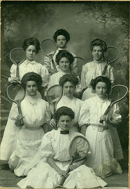 Tennis at #Baylor, c.1907-1908. It's hard to believe women once had to play in such heavy outfits!