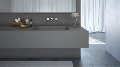 """Sleek Concrete is the new """"Concrete"""" matte, textured finish which introduces an industrial aged feel. It doesn't require sealing & is designed to acquire a natural patina, adding to the character of the surface, yet remains easy to clean and maintain.  Sleek Concrete is available in 20mm thickness slabs and is available from June 2014."""