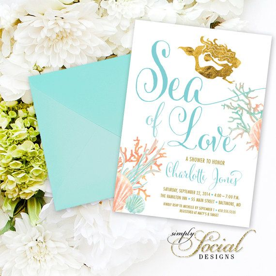 Under the Sea Mermaid Bridal Shower Invitation - Sea of Love Coral Turquoise Faux Gold Foil Beach Invitation Gold Glitter Glam Watercolor