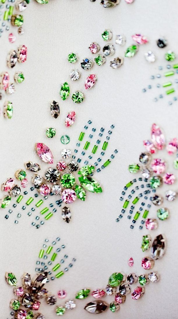 A backstage look at the bejeweled fabrics at #Giambattista Valli #Couture #embellishment