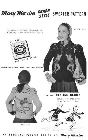 Mary Maxim 464, dancing blades, sizes 8 to 12, reproduced pattern