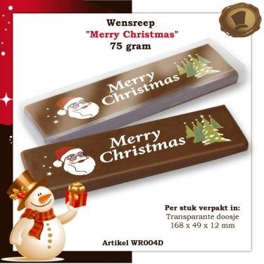 Wensreep merry christmas / Per stuk verpakt 75 gram /   Smaak Melk en/of Purechocolade Te bestellen vanaf 105 stuks. #chocolade #reep #relatie