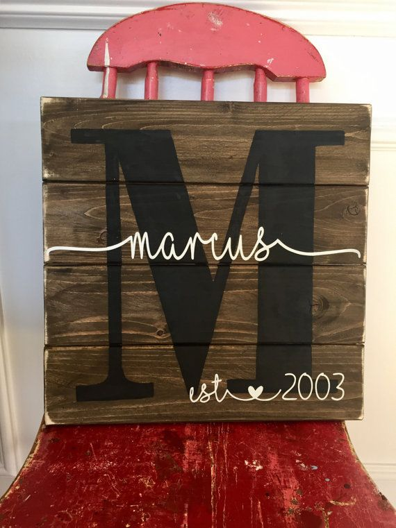 Sign measures approx. 14 x 1.5 x 14. Each sign is handmade to order just for you! The sign is made with the name and established date/year you provide. This sign is best suited for shorter last names (6 letters or less). If you have a longer last name, please check out with this listing https://www.etsy.com/listing/288753007/pallet-sign-last-name-sign-wedding?ref=shop_home_feat_2 Please leave the following information in the Remarks to Seller when checking out: 1.) Last name and 2.)…