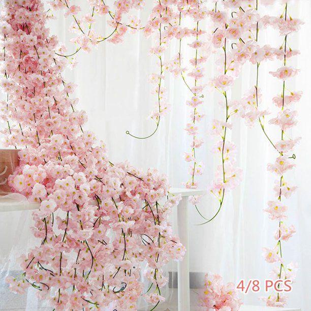 3 4 8pcs 1 8m Artificial Cherry Blossom Garland Hanging Vine Silk Garland Wedding Party Decor Walmart Com Cherry Blossom Decor Cherry Blossom Wedding Cherry Blossom Party
