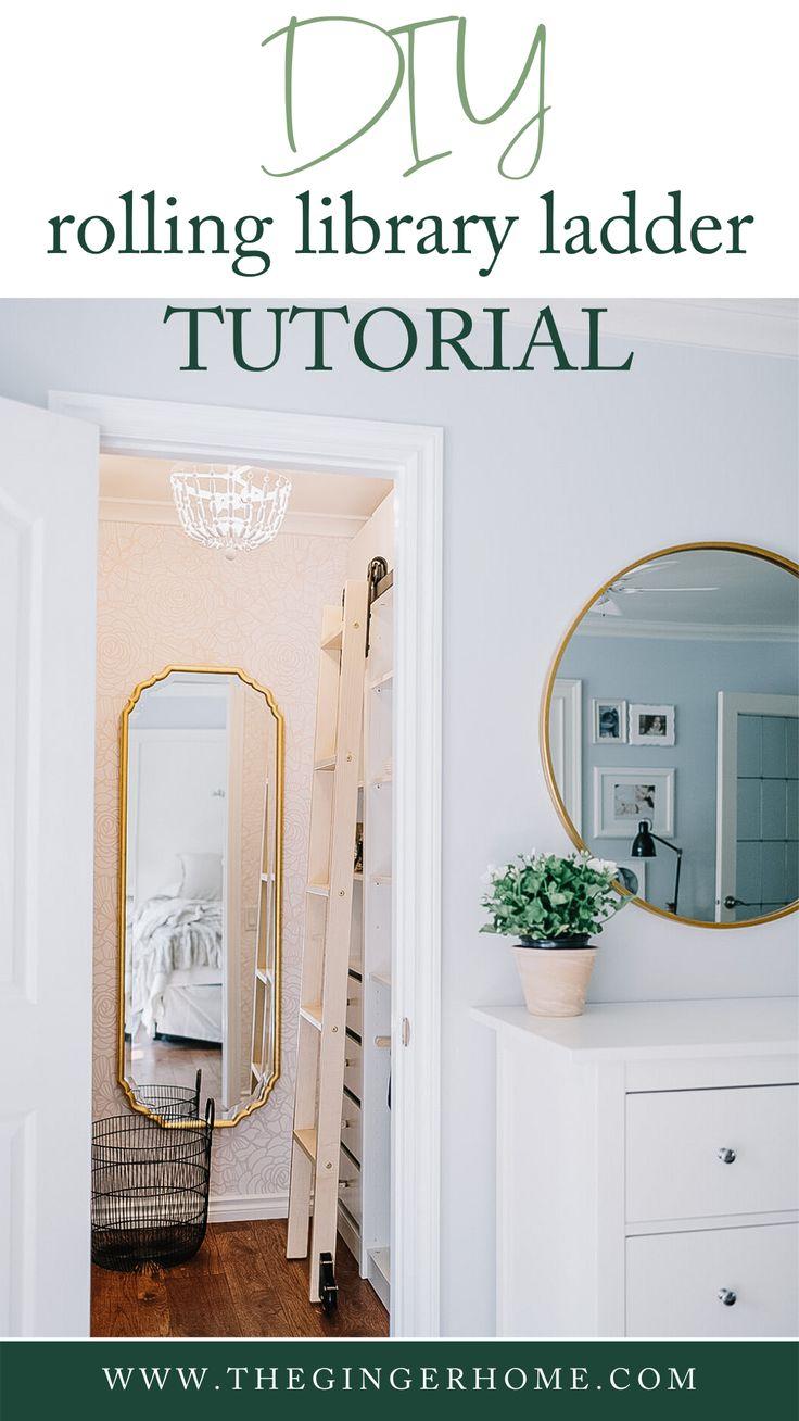 Diy rolling library ladder tutorial custom closet design