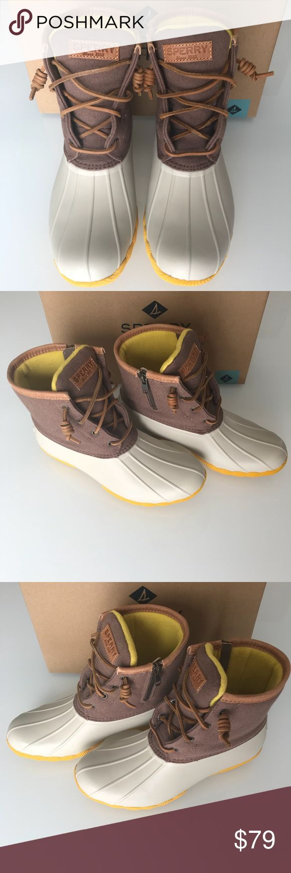 Sperry Duck Boots Women's Sz 8.5 **Brand New In Box**  Sperry Duck Boots Size Women 8.5 Saltwater Ivory/Tan/Yellow Sperry Shoes Winter & Rain Boots