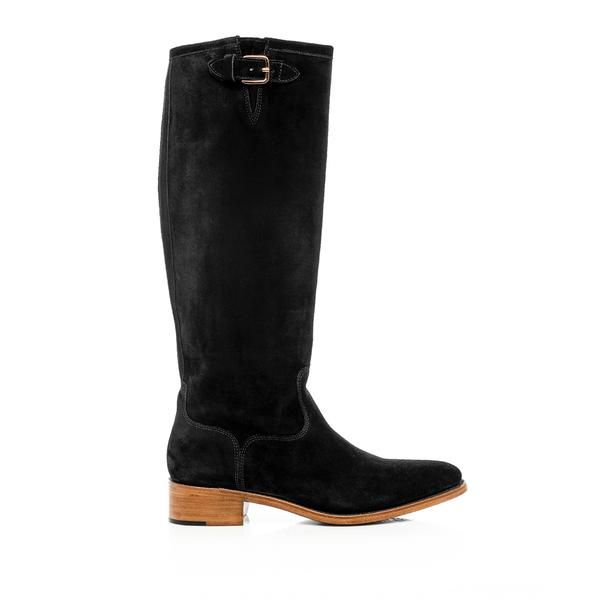 Mr. Rocco Black Suede Leather Women's Riding Boot