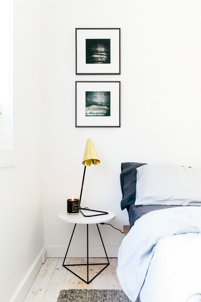 contemporary bedside tables in Bedroom Scandinavian with black and white bedside lamp
