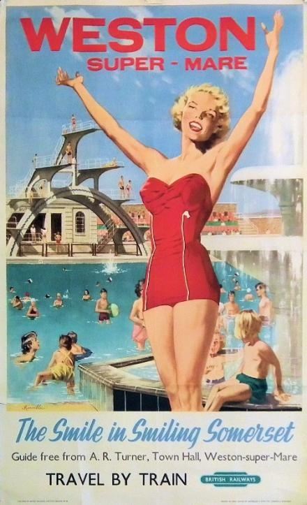Weston-Super-Mare, The Smile In Smiling Somerset    An original vintage 1950s lithographic travel poster.