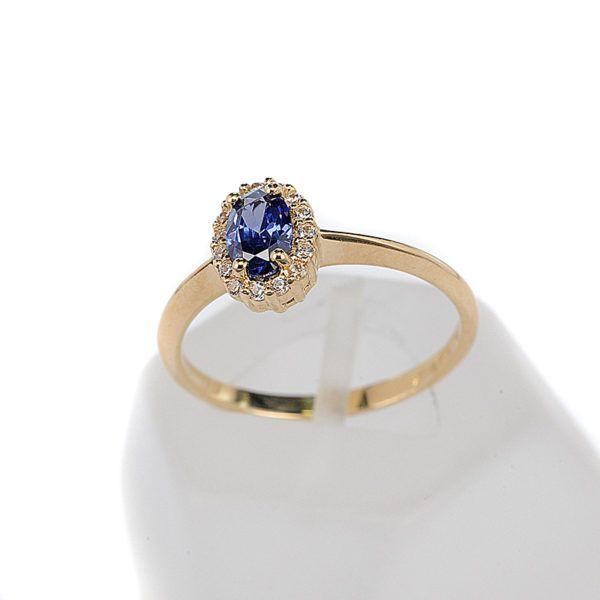 Δαχτυλίδι  ροζέτα χρυσό Κ14  μπλε  ζιρκόν