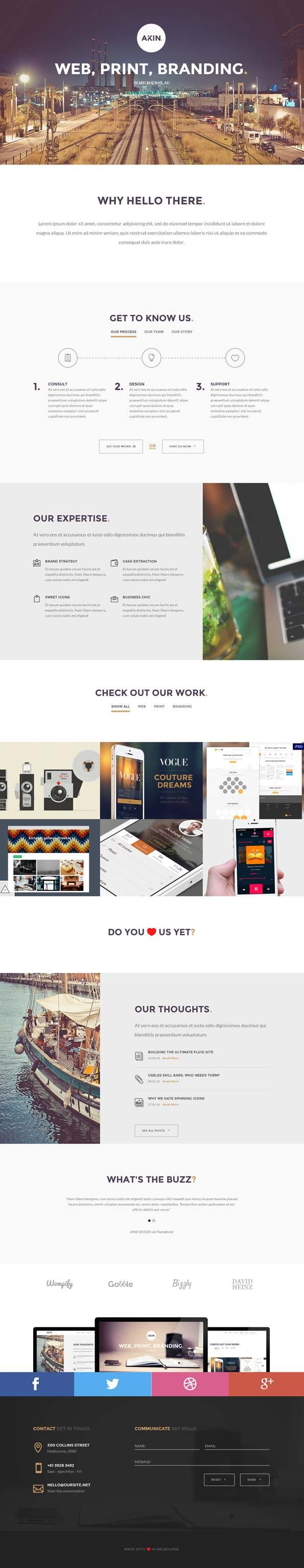 Cool great shapes translated into rubber Akin - One Page, Responsive Template