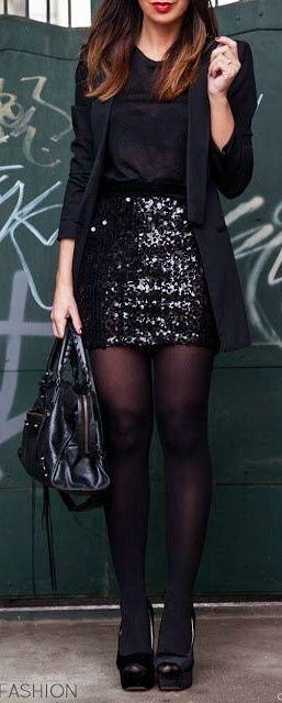 Black Shirt + Glitter Skirt