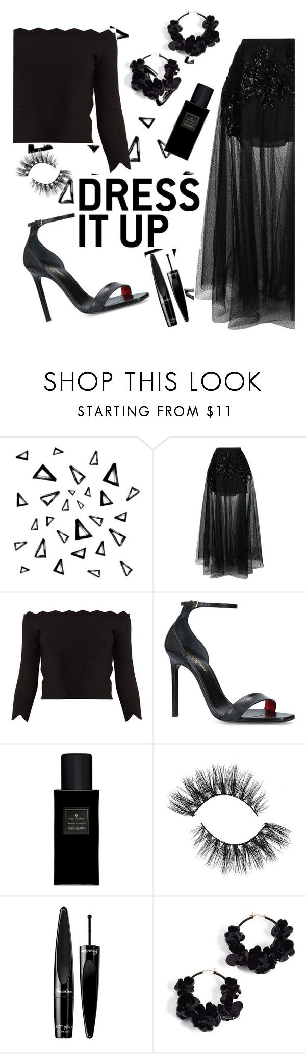 """""""Dress it up"""" by undercover-fangirl ❤ liked on Polyvore featuring Nika, Elie Saab, Alexander McQueen, Yves Saint Laurent, Guerlain and Oscar de la Renta"""