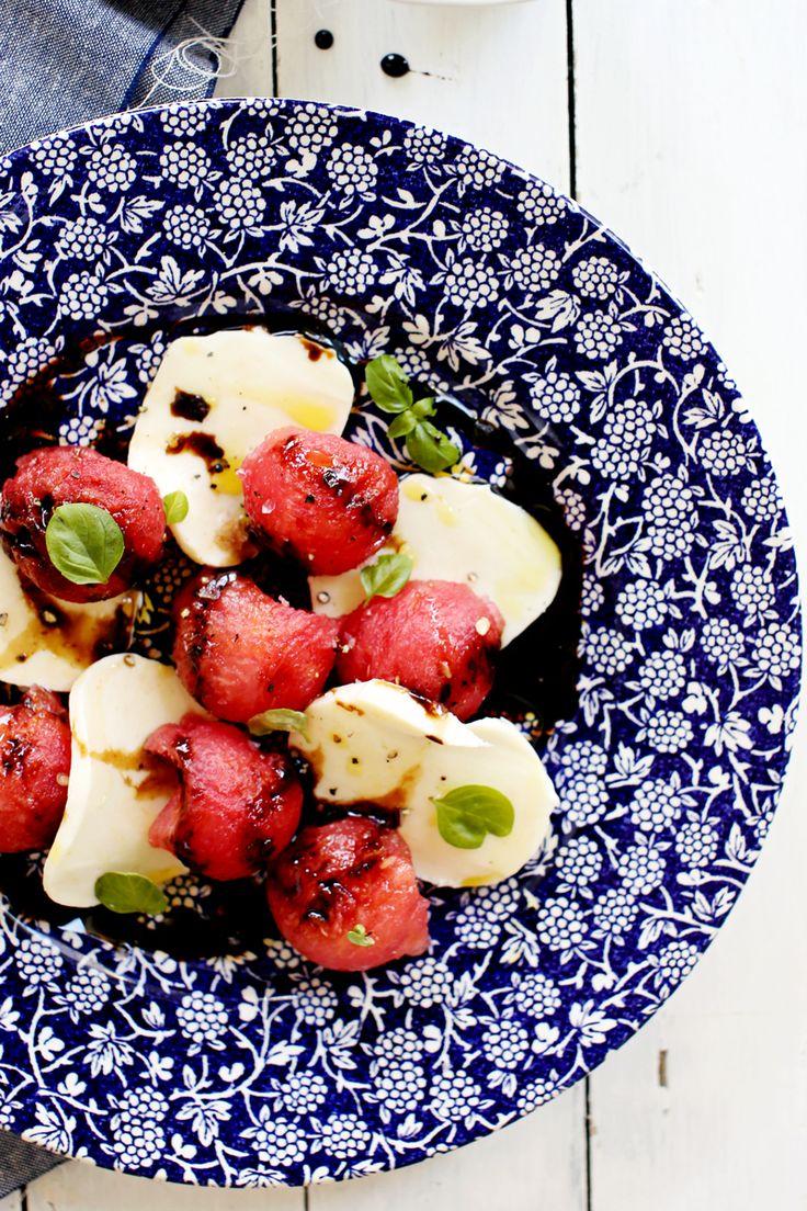 Watermelon Caprese Salad by foodess #Salad #Watermelon #Caprese
