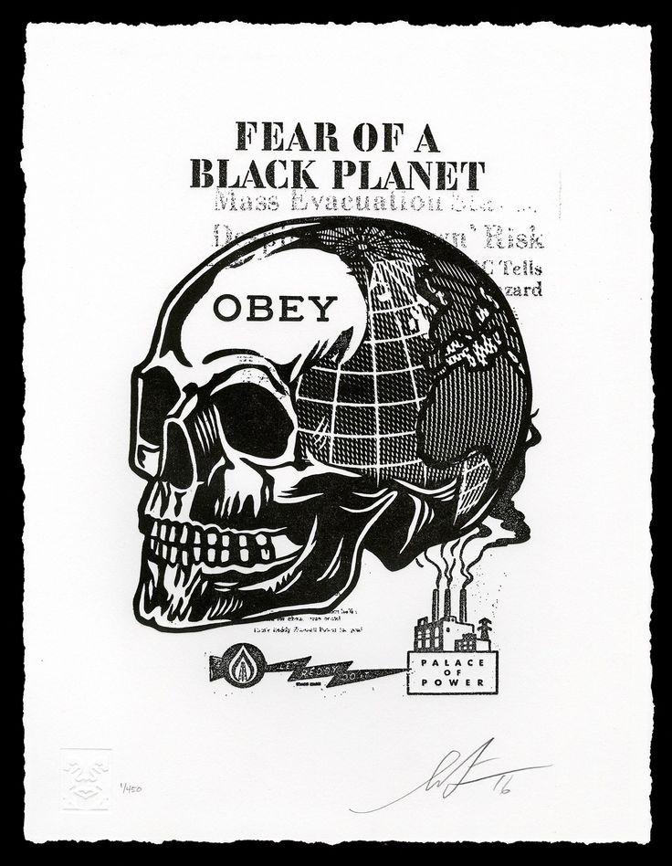SKULL OF A BLACK PLANET Letterpress Print / Shepard Fairey via obeygiant.com