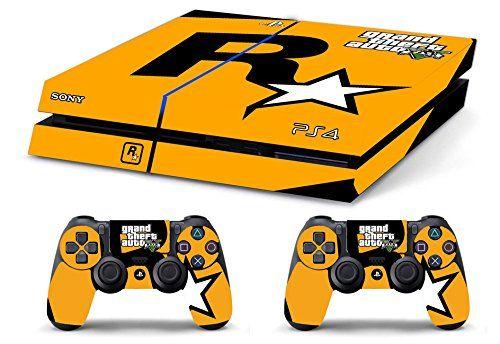 Skin PS4 WhiteP HD GTAV Grand Theft Auto 5 ROCKSTAR GAMES LOGO