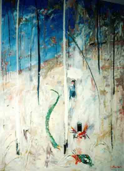 Arthur Boyd, Lady and The Green Serpent, Oil on canvas, 122 x 92 cm