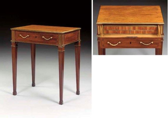 A GERMAN BRASS-MOUNTED MAHOGANY WRITING-TABLE    CIRCA 1780-85, ATTRIBUTED TO DAVID ROENTGEN