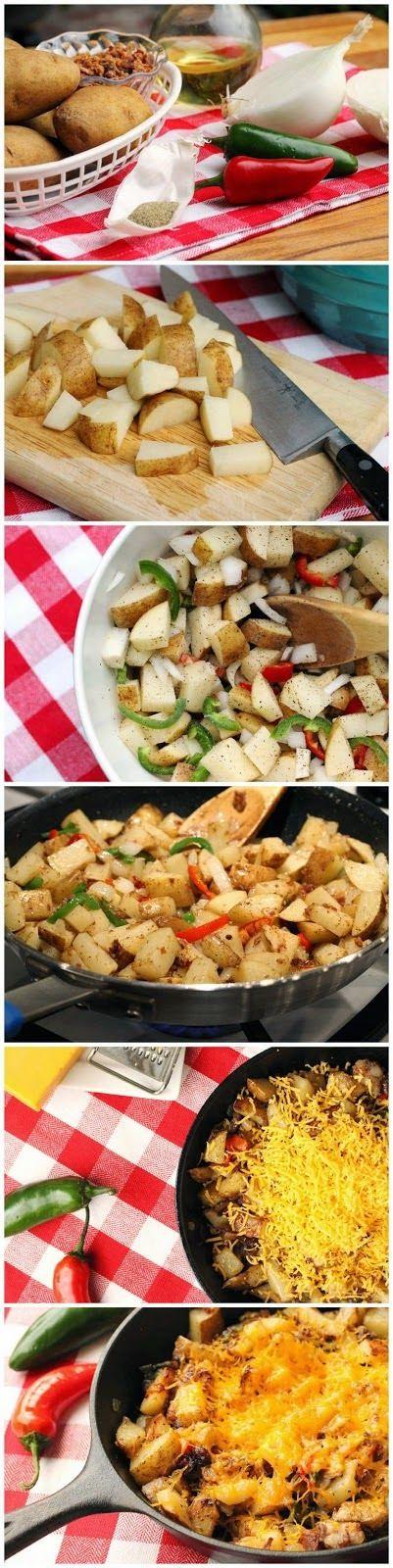 Cheesy Jalapeno and Bacon Skillet Potatoes - BestFoodRecipes